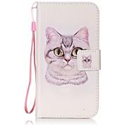 For Card Holder Flip Pattern Case Full Body Case Cat Hard PU Leather for LG K10  LG K8  LG K7  LG LS770 LG LS775 LG V20 LG X POWER LG X SCREEN