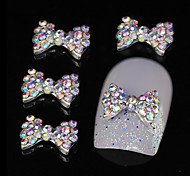 10pcs Colorful Rhinestone Bowtie DIY Alloy Accessories Nail Art Decoration