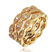 Ring Kubikzirkonia vergoldet 18K Gold Gold Weiß Schmuck Hochzeit Party Alltag Normal 1 Stück