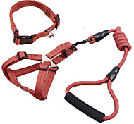 Dog Collar / Harness / Leash Adjustable/Retractable / Safety Solid Red / Black / Blue / Brown / Yellow Fabric