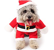 Cat / Dog Costume / Clothes/Jumpsuit Red Dog Clothes Winter Cartoon Cute / Cosplay / Christmas