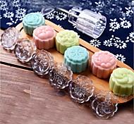 7pcs / серия акриловые рука нажать 50g круглая луна торт плесень ремень 6 марок печенья тесто лунного пирога формы