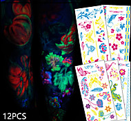 12 Tattoo Stickers Animal Series / Flower Series / Totem Series / Others / Cartoon Series / Romantic SeriesNon Toxic / Pattern /