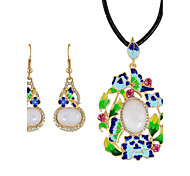 Jewelry 1 Necklace 1 Pair of Earrings Rhinestone Daily Casual 1set Women Gold Wedding Gifts