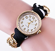Women's Casual Wrist Watch  Ladies Quartz Generva Brecelet Watch Fabric Dotted Band The Rhinestone Watchcase Reloj Mujer