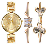 Women 's Watch and Bracelet Titanium Steel Bracelet Watch Set Ak Style Gold Ladies Watch Rhinestone Quartz Watch Montres Femme