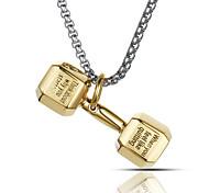 панк-стиль кулон ожерелье шарма нержавеющей стали 316l ретро форма гантелей спорт бокс ювелирных изделий