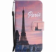 For Motorola G4 Play G4 Case Cover Eiffel Tower Painted Lanyard PU Phone Case