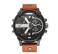 uomini cagarny guardare orologio / moda / grande manopola / doppio fuso orario / giapponese calendario quarzo / orologio personalizzato