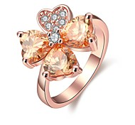 CZ FLower Leaf Rose Gold Plated Lucky Fashion Jewelry Ring