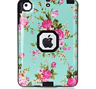 Flower Pattern Colour Printing Shockproof Resistance Waterproof Three in One Cover Case for iPad mini 1/2/3