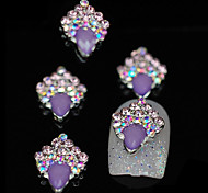 10pcs Purple Unique Glitter DIY Alloy Accessories Nail Art Decoration