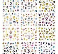 12 Designs Nails Stickers New Beauty Girl Cartoon DIY Tattoos for Nail Art Decals Water Transfer Nail Wraps Tips BN457-468
