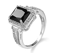 Brand women Big Rose Black sSquare Zircon Jewelry Ring for Female Platinum Plated Romantic Christmas present ring