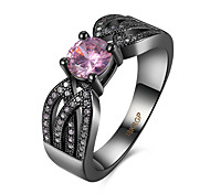 Hot Sale Round Cubic Zirconia Black Gun Plated New Jewelry Fashion Rings PR960