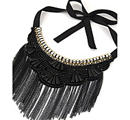 Women's Collar Necklace Statement Necklaces Crystal Resin Alloy Tassel Bohemian Statement Jewelry Black Silver Dark Blue Blue Jewelry