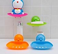 Vacuum Suction Cup Soap Box Bathroom Cutout Water Soap Box Seamless Storage Rack(Random Color)