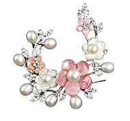 Women Jewelry Pearl White Brooches 1ps