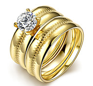 Hot 316L stainless steel couple CZ Diamond Engagement Ring Size 6 # 7 # 8 # 9 # Fashion Jewelry Top Quality