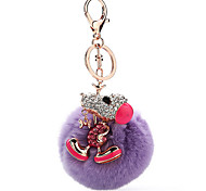 Key Chain Sphere / Dog Key Chain Purple Metal / Plush