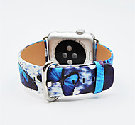 The Butterfly Coloured Drawing or Pattern Genuine Leather Watch Band Wristwatch Bracelet Strap Belt for Apple Watch 38/42MM