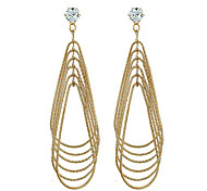 Diamond Dangle Earrings Jewelry Women Couples Wedding Party Zircon Gold Plated 1 pair Gold