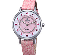SKONE Women's Casual Watch Simulated Diamond Watch Luminous Imitation Diamond Quartz PU Band Casual Black White Red Brown Pink