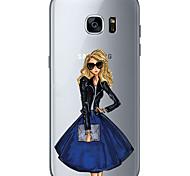 Для Ультратонкий Прозрачный С узором Кейс для Задняя крышка Кейс для Соблазнительная девушка Мягкий TPU для SamsungS7 edge S7 S6 edge