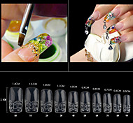 500pcs/pack Clear Glass False Acrylic Nail Art Tips Salon Nail Beauty Artificial Fake Glaze Nails Design Tools