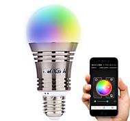 7W E26/E27 Ampoules LED Intelligentes A60(A19) 8 LED Haute Puissance 500 lm Blanc Chaud Blanc Froid Blanc Naturel RVB Décorative Bluetooth