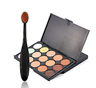 1pcs 15color Concealer plus 1pcs concealer makeup brush Contour Pressed Powder Dry Pressed powder Concealer Freckle Face Black # popfeel