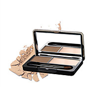 New Professional Kit 2 Color Eyebrow Powder Shadow Palette Enhancer with Ended Brushes