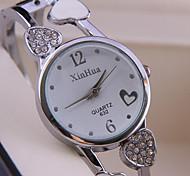 Women's Fashion Watch Quartz Alloy Band Heart shape Bangle Silver