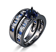 Brand Latest Design Heart shape Zircon Real Platinum Plated Genuine Wedding party Ring a set For Women #95534