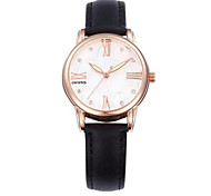 Women's Fashion Watch Quartz Rose Gold Plated Genuine Leather Band Casual Black Red Orange Green Rose