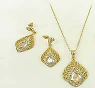 Jewelry Set Crystal Rhinestone Alloy Carved Fashion Flower Champagne Party Daily 1set 1 Necklace 1 Pair of Earrings Wedding Gifts