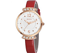 Women's Fashion Watch Quartz Water Resistant/Water Proof Leather Band Casual White Red Brown Brand