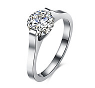 Ring Steel Simulated Diamond Fashion Silver Jewelry Daily 1pc