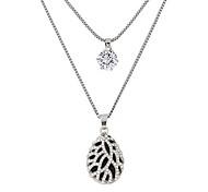 Женский Ожерелья с подвесками Стразы Имитация Алмазный Сплав Свисающие Капля Двойной слой Мода Серебряный БижутерияДля вечеринок