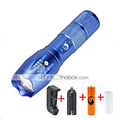 ZQ-G7000-Blue#1-EU CREE XML-T6 2000LM Portable Zoom Flashlight Torch Kit 5Modes Range 400m with 1*Battery and Charger