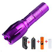 U'King ZQ-G7000-Purple#1-EU CREE XML-T6 2000LM Portable Zoom Flashlight Torch Kit 5Modes Range 400m with 1*Battery and Charger
