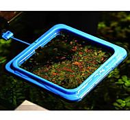 alimentador de peixes de aquário 3pcs plástico azul quadrado
