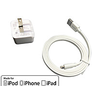 ul cargo pared recorrido certificado 1a / 2.1a doble salida + IMF manzana cable falt rayo certificado para el iphone 6 ipad iPod