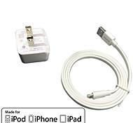 ul charge de paroi de Voyage certifié 1a / 2.1a sortie double + câble foudre Falt certifié pomme de mfi pour iphone ipod ipad 6