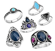 Ring Acrylic Party Daily Casual Jewelry Alloy Women Ring 1set Silver Europe Fashion Personality Beautiful 6pcs Rings