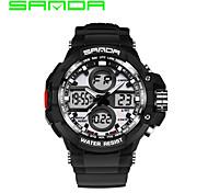 SANDA Hommes Montre de Sport Montre Militaire Smart Watch Montre Tendance Montre BraceletLED Double Fuseaux Horaires Tracker de Fitness