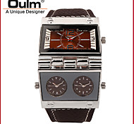 Oulm Man/Multiple Time Zones/Leather Strap/Fashionable Watch