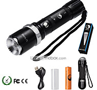 U'King ZQ-940B# XML-T6 2000LM 5Mode Flashlight Torch Kit with Attack Head Self-defense Function and USB Cable