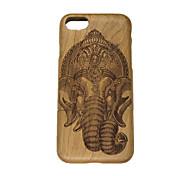 Für Geprägt Hülle Rückseitenabdeckung Hülle Elefant Hart Holz für Apple iPhone 7