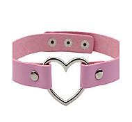 Women's Choker Necklaces Tattoo Choker Imitation Diamond Single Strand Circle Heart Leather Basic Tattoo Style Love Fashion European